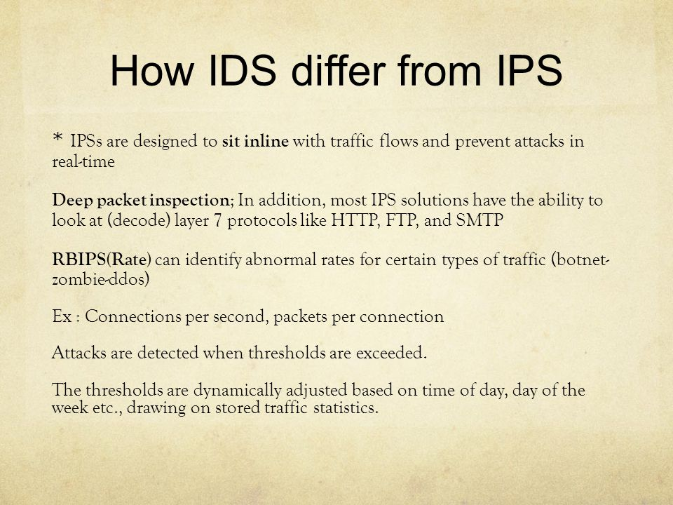 How IDS differ from IPS