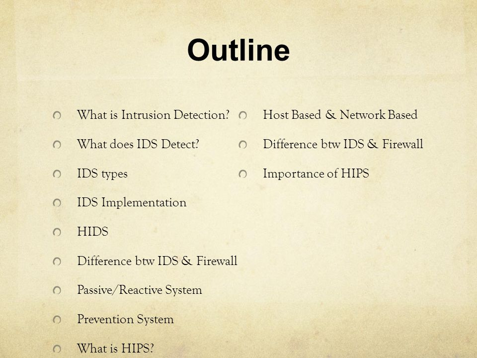 Outline What is Intrusion Detection Host Based & Network Based
