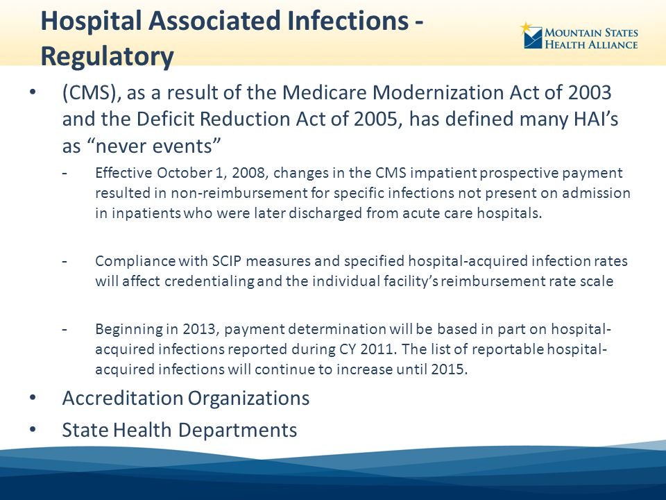 hospital associated infections A hospital-acquired infection (hai), also known as a nosocomial infection, is an infection that is acquired in a hospital or other health care facility to emphasize both hospital and nonhospital settings, it is sometimes instead called a health care–associated infection (hai or hcai.