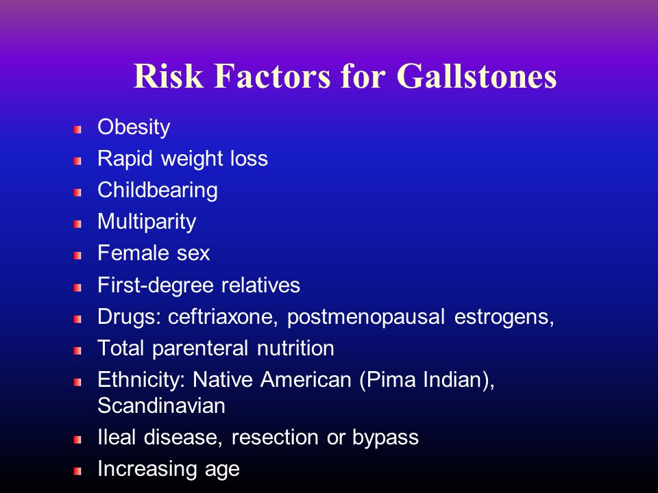Risk Factors for Gallstones