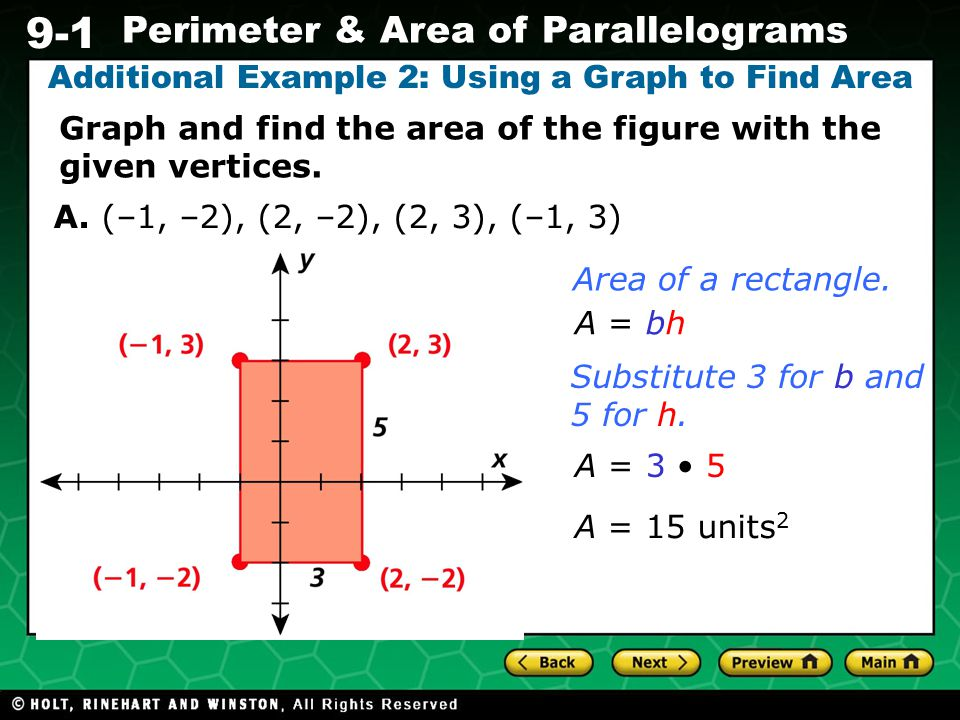 Additional Example 2: Using a Graph to Find Area