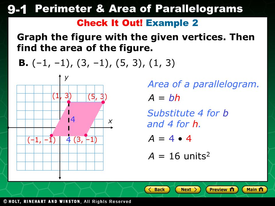 Area of a parallelogram.