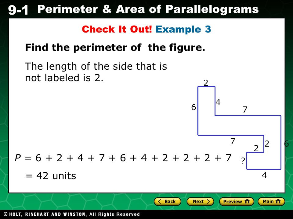 Find the perimeter of the figure.