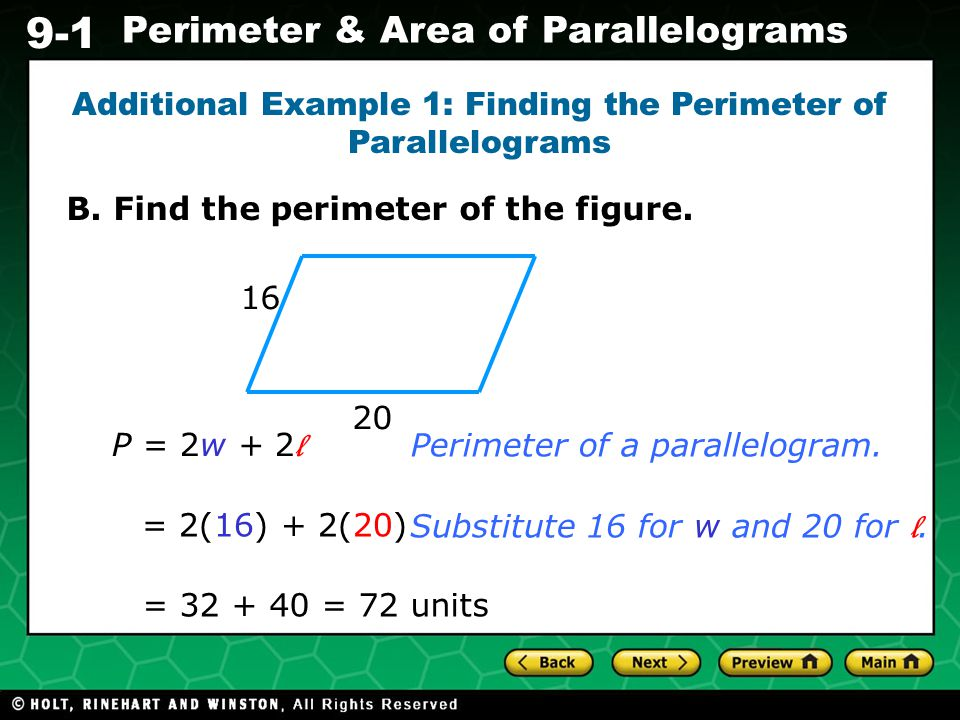 Additional Example 1: Finding the Perimeter of Parallelograms