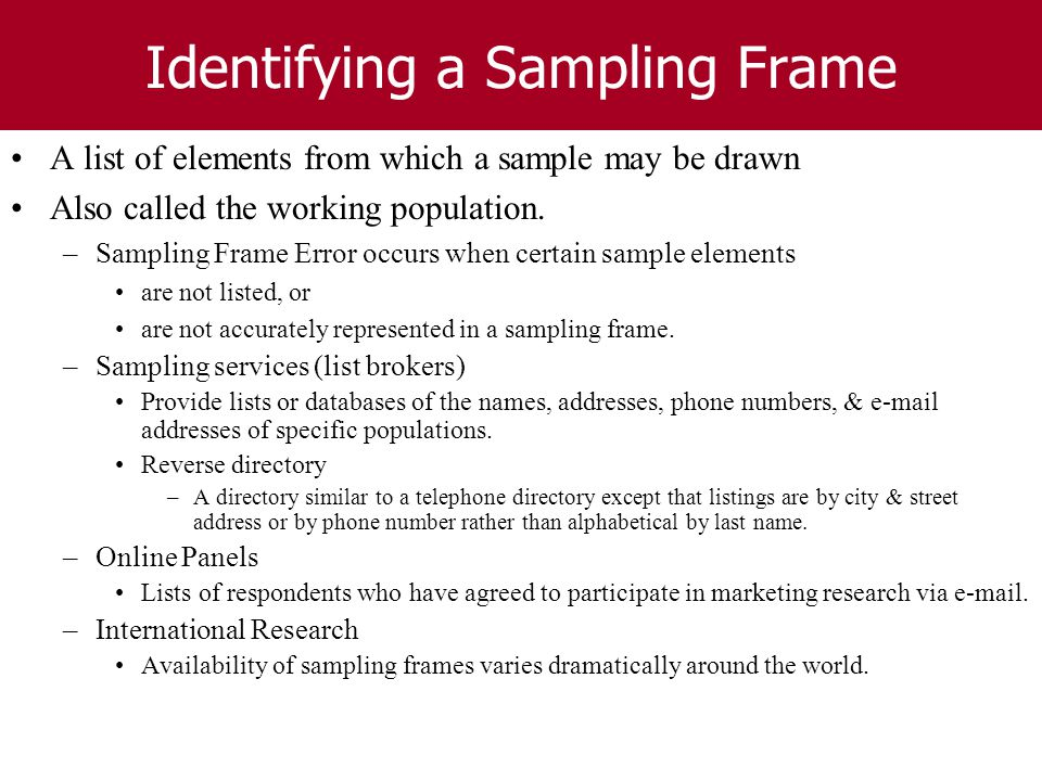 sampling frame in research Background, theoretically every human being could be included in the sampling  frame nevertheless, due to the limitations of a small-scale study finally 76.