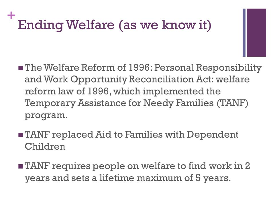 Ending Welfare (as we know it)