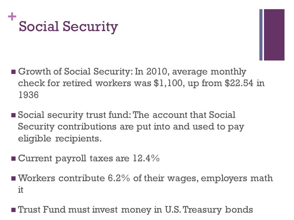 Social Security Growth of Social Security: In 2010, average monthly check for retired workers was $1,100, up from $22.54 in
