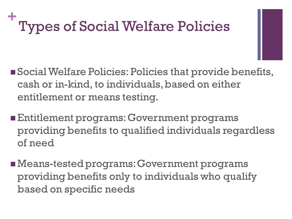 Types of Social Welfare Policies