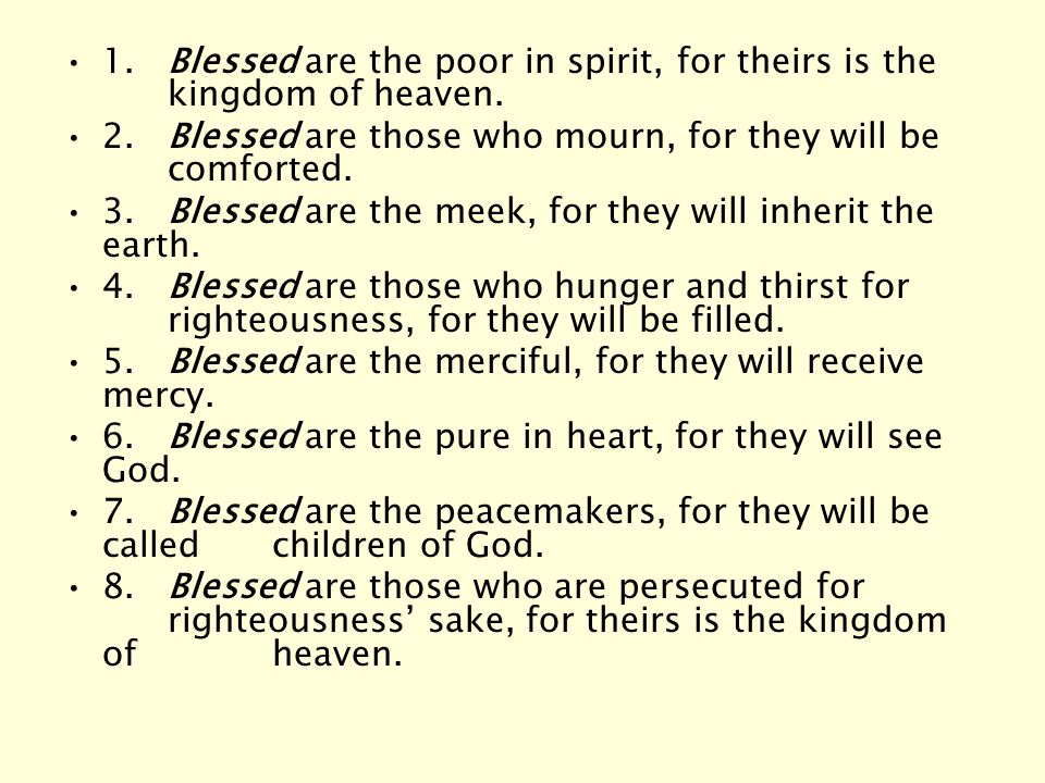 Blessed Are The Poor In Spirit For Theirs Is The Kingdom Of Heaven The Beatitudes....
