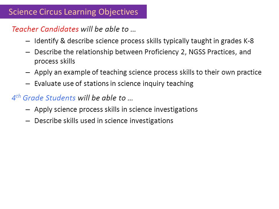 Science Circus Learning Objectives