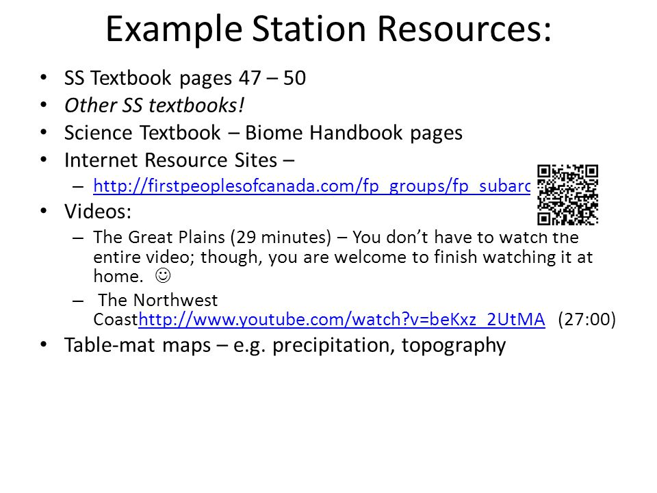 Example Station Resources: