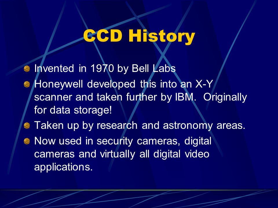 CCD History Invented in 1970 by Bell Labs