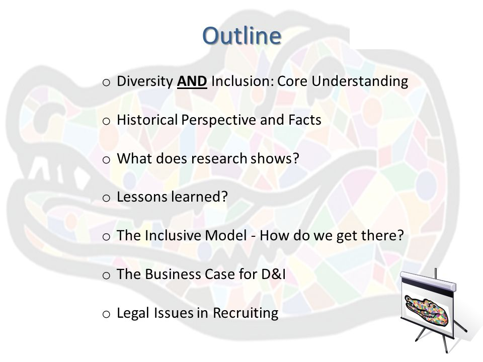 diversity outline Sw 3110: diversity/oppression and social justice master syllabus i course domain and boundaries this course focuses on issues of diversity, oppression and social justice.
