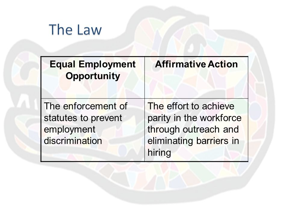 equal opportunity affirmative action Any individual having suggestions, problems, complaints, or grievances with regard to equal opportunity or affirmative action is encouraged to contact the director of social equity, 13-15 university avenue, room #100, 610-436-2433.