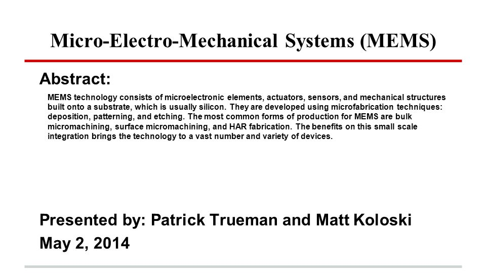 Micro Electro Mechanical Systems Mems Ppt Video Online Download