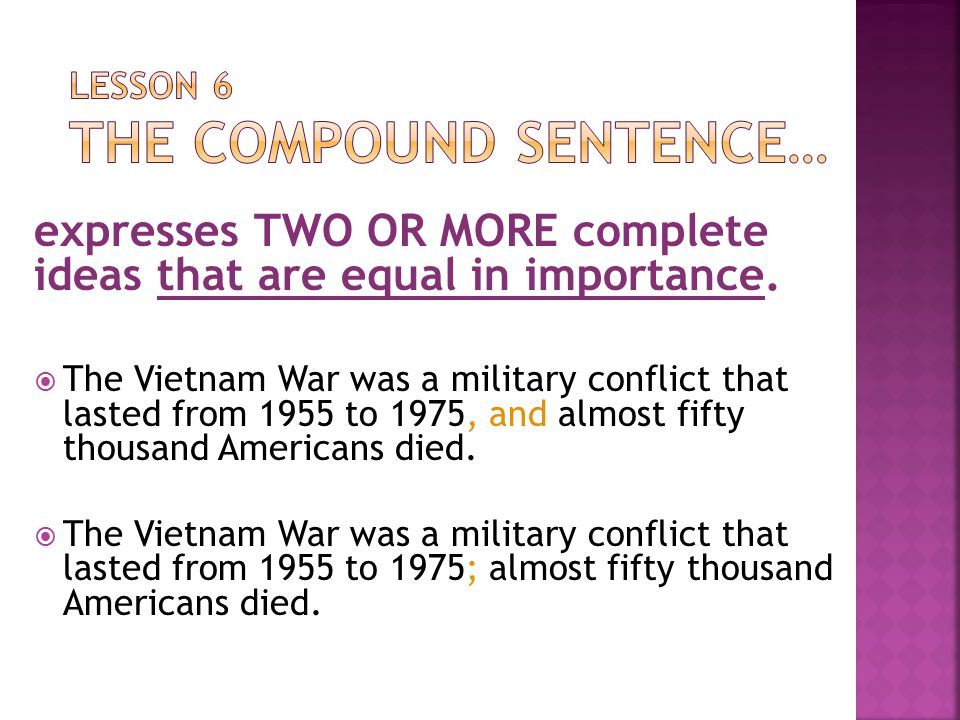 Lesson 6 The Compound Sentence…