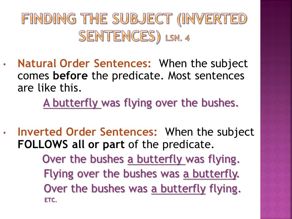 Finding the subject (inverted sentences) lsn. 4