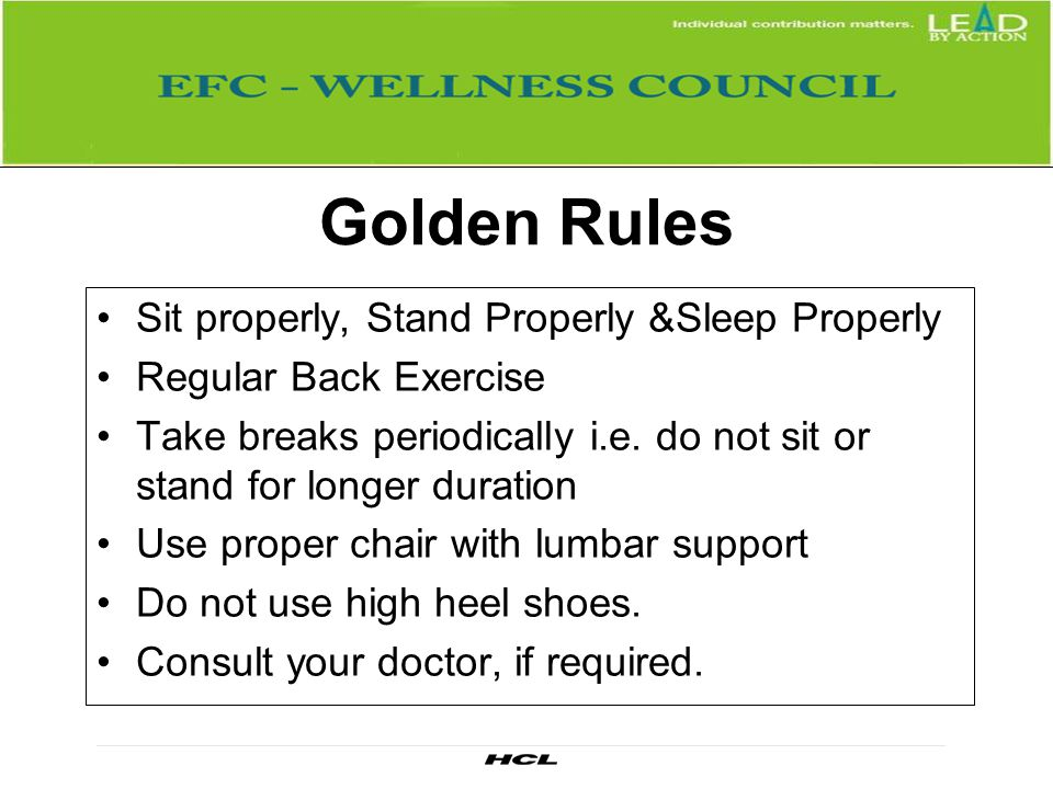 Golden Rules Sit properly, Stand Properly &Sleep Properly