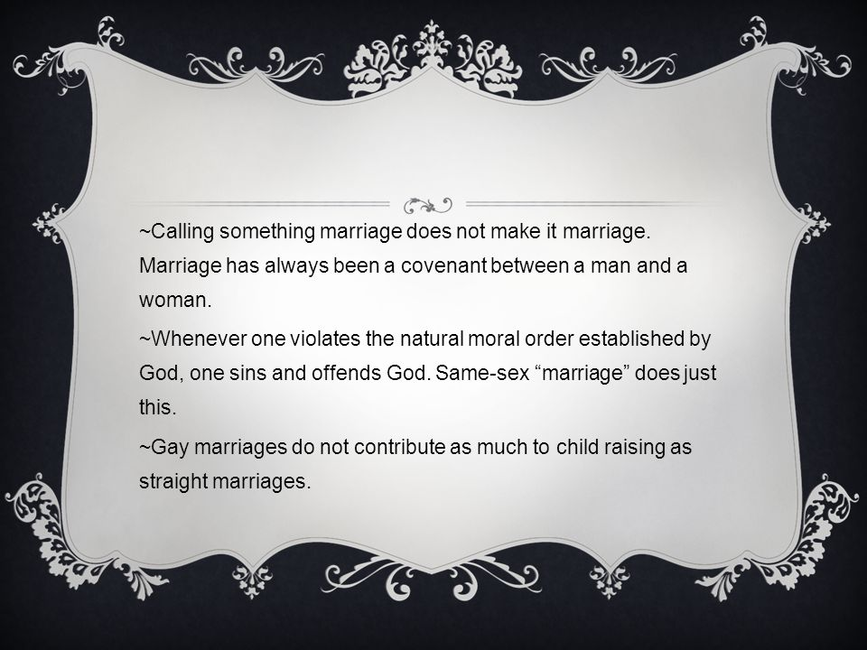 Same sex marriage moral