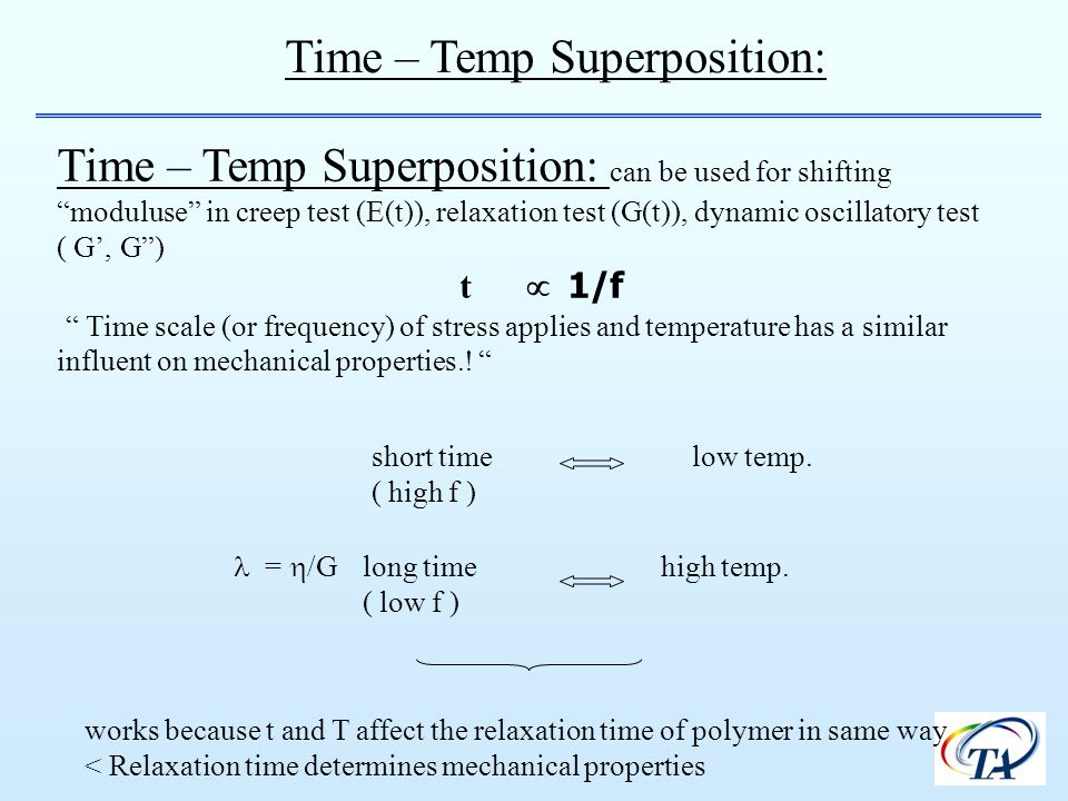 Time – Temp Superposition: