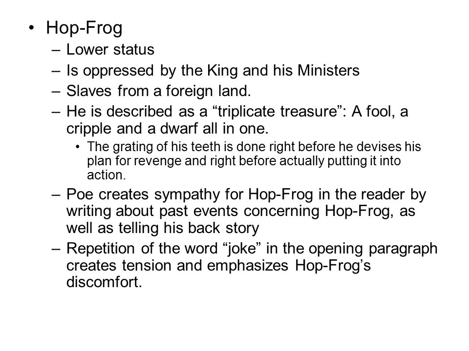 hop frog as a love story essay Chilling and killing my annabel lee but our love it was stronger by far than the love hop-frog the man of the crowd essay information short story contest.