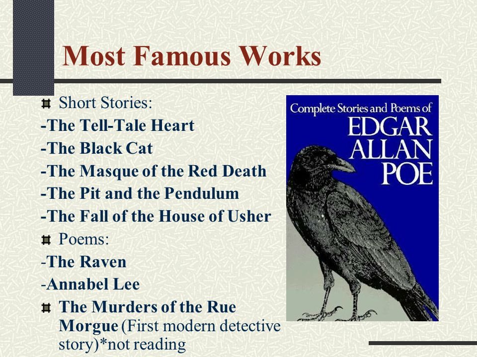 """death and murder a common recipe in edgar allan poes works A bad lyric poet, poe's stories are """"lyric outbursts"""" in which the narrators or """"i's"""" correspond more to poe himself than to fictional characters [poe """"intended the tale of the narrator to be recognized as a madman's confession of a nightmare about death"""", the old man who is murdered is the alter ego of the."""
