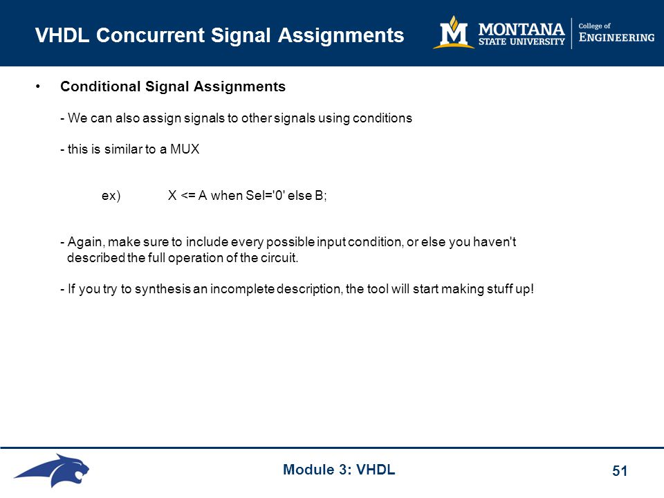 Signal Assignments in VHDL: with/select, when/else and case