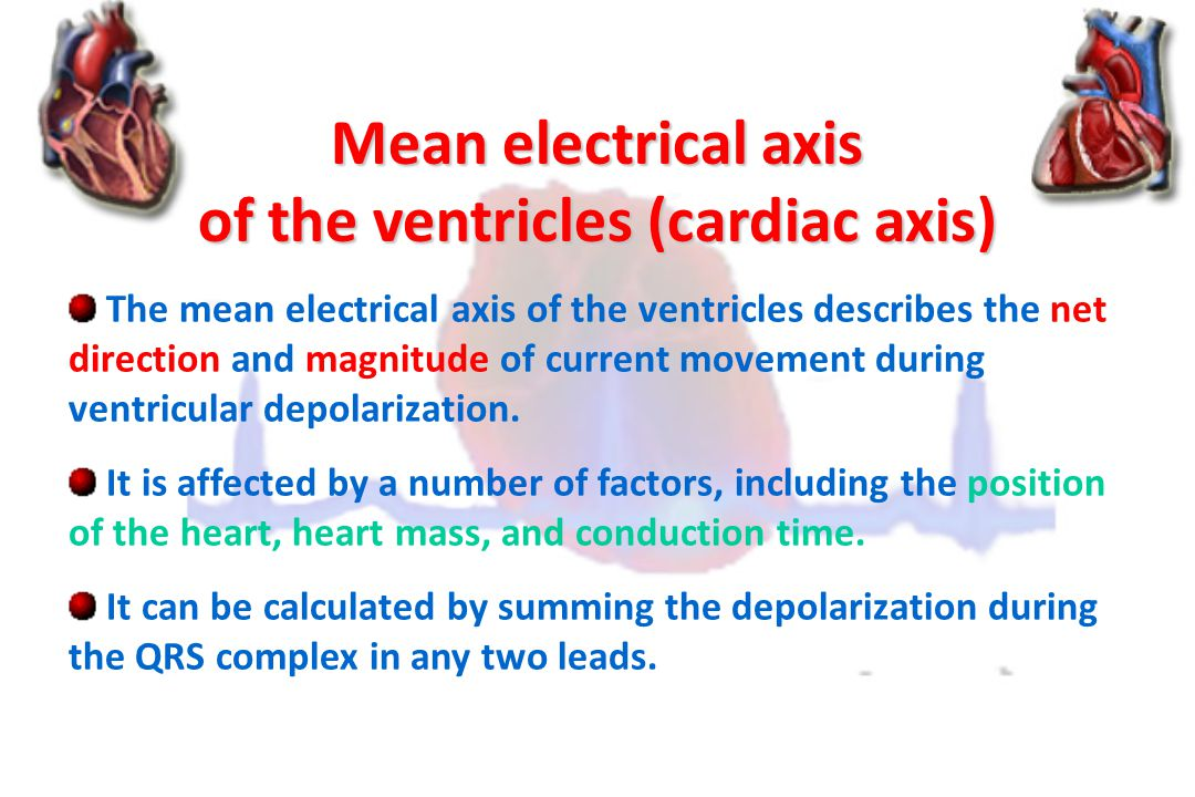 of the ventricles (cardiac axis)
