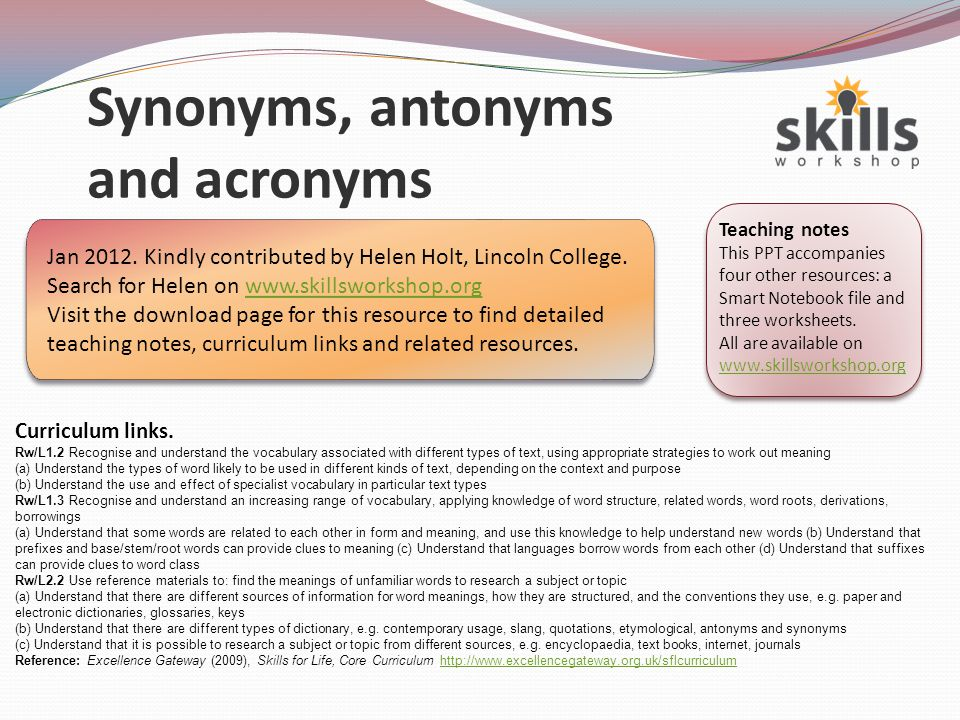 Synonyms, antonyms and acronyms - ppt video online download