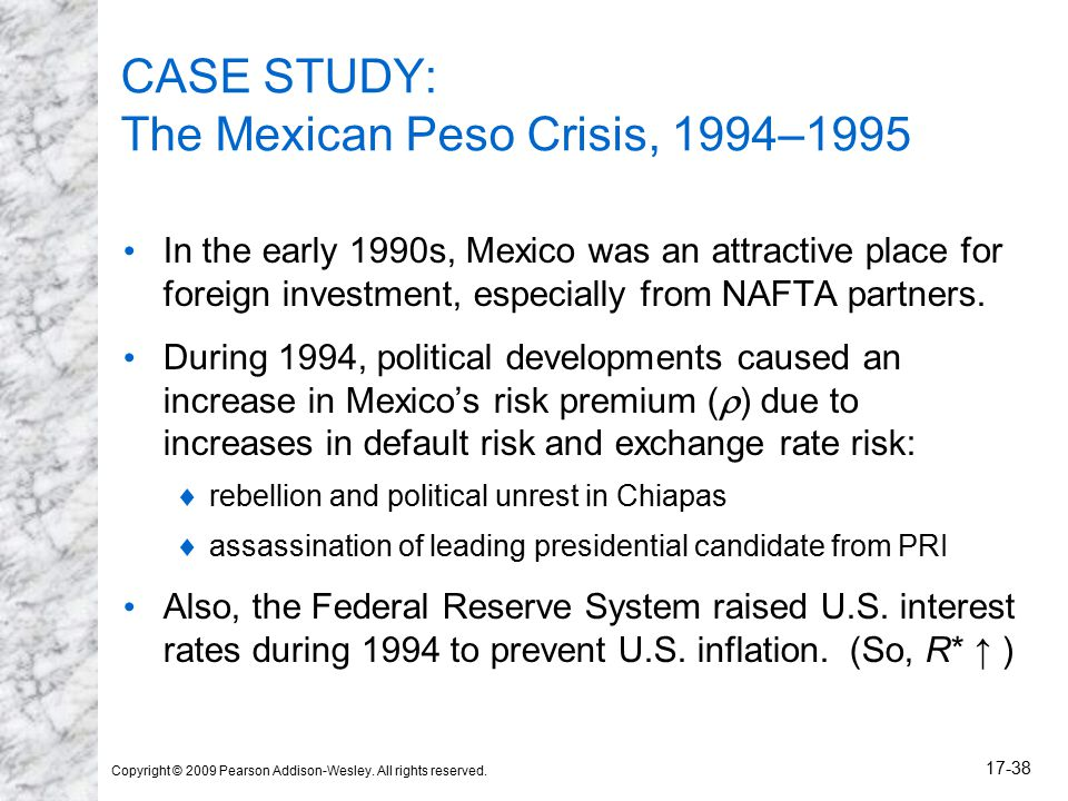 mexican peso case The mexican peso is the 11th most traded currency in the world,  and as a result the country suffered a severe case of capital flight,.
