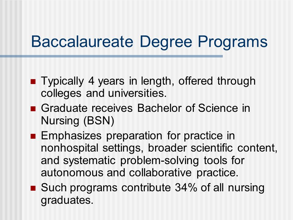 Baccalaureate Degree Programs