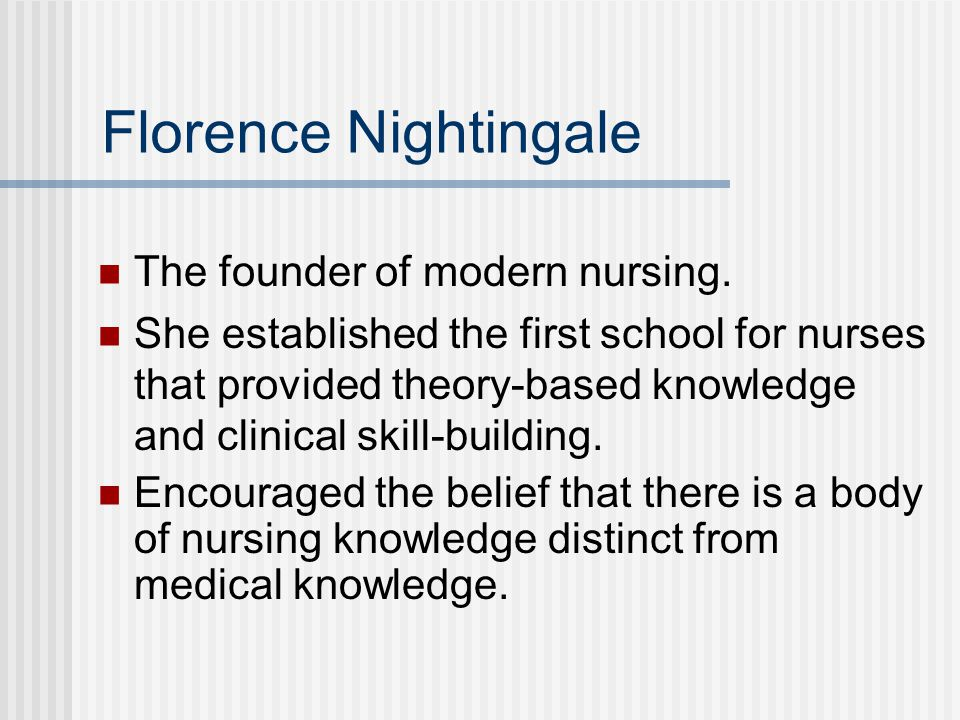 Florence Nightingale The founder of modern nursing.