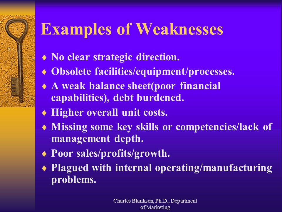 what are some examples of weaknesses