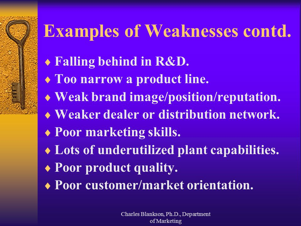Examples of Weaknesses contd.