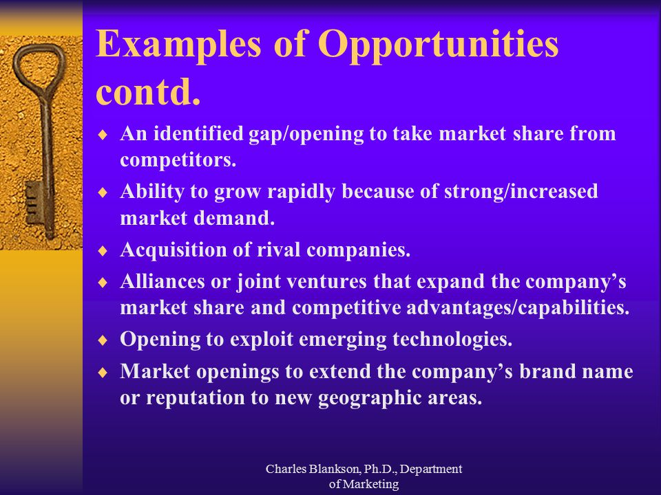 Examples of Opportunities contd.