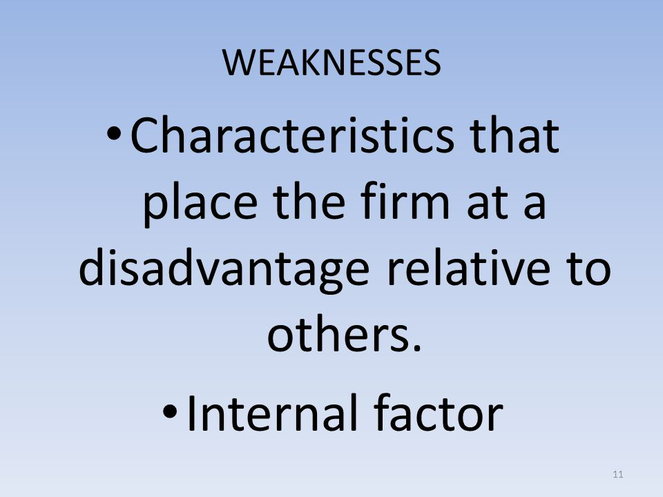 WEAKNESSES Characteristics that place the firm at a disadvantage relative to others.
