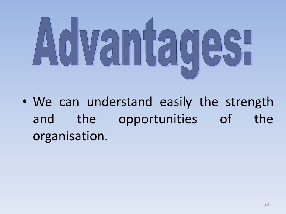 Advantages: We can understand easily the strength and the opportunities of the organisation.