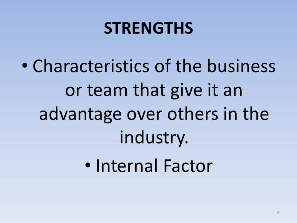 STRENGTHS Characteristics of the business or team that give it an advantage over others in the industry.