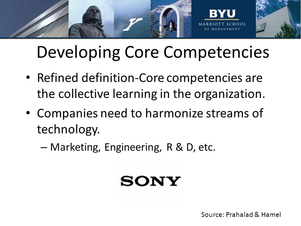 core competencies of sony Screens for sony and matsushita, it is miniaturisation hp's competencies are in  measurement, computing and communications 3m's core competencies lie in.