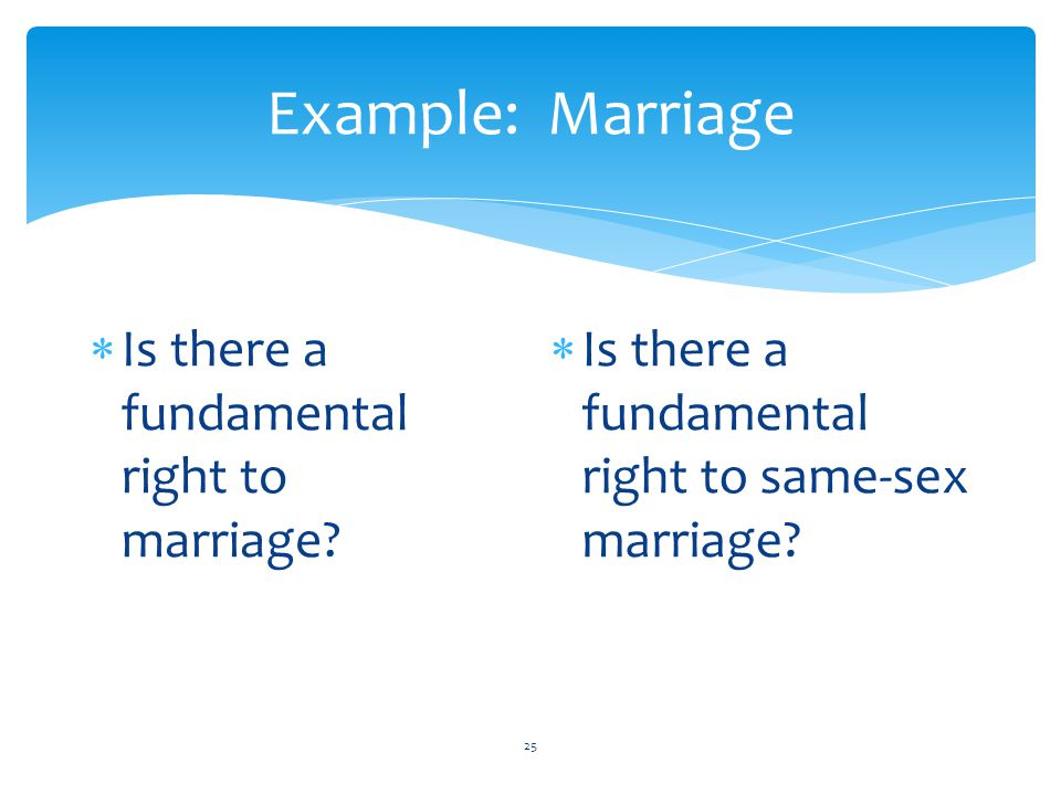Example: Marriage Is there a fundamental right to marriage