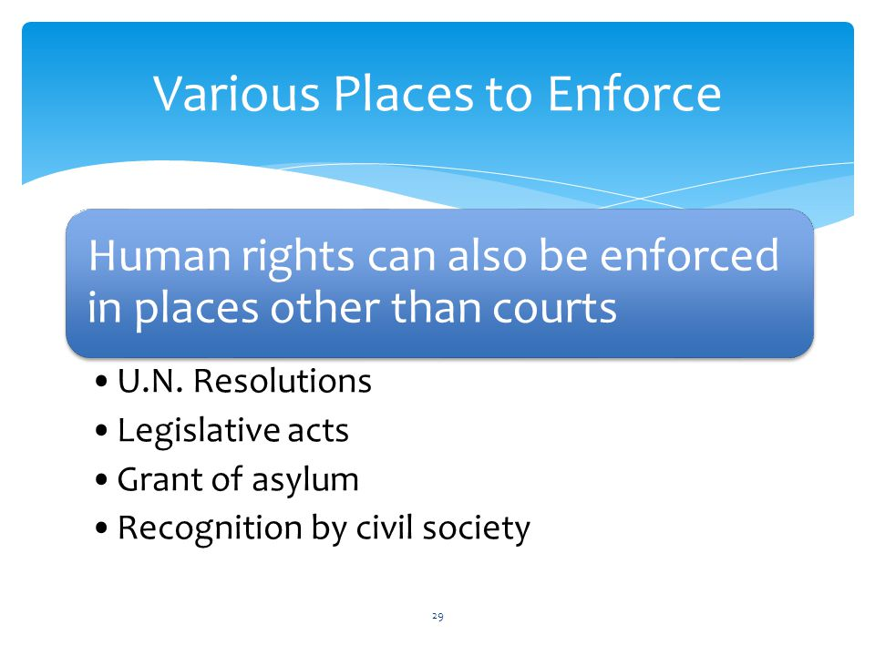 Various Places to Enforce