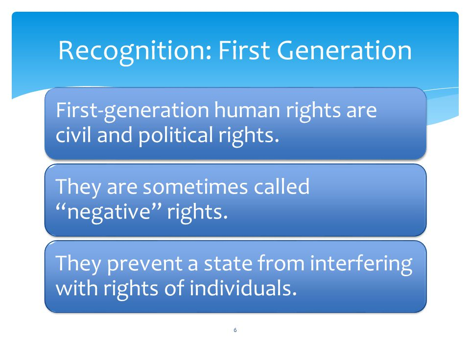 Recognition: First Generation