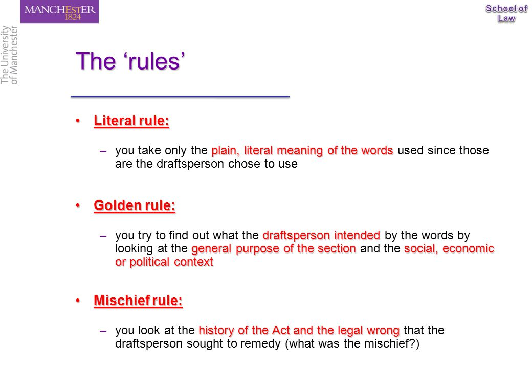 Statutory interpretation ppt download for Rule of three meaning