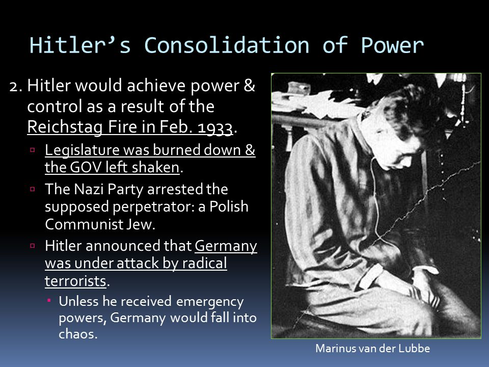 nazi consolidation of power in 1933 On the other hand the nazi party's policy of legality and the threat of communism are to a large extent the underlining most important factor in explaining how the nazis were able to destroy political opposition and become dominant and consolidate power in 1933.