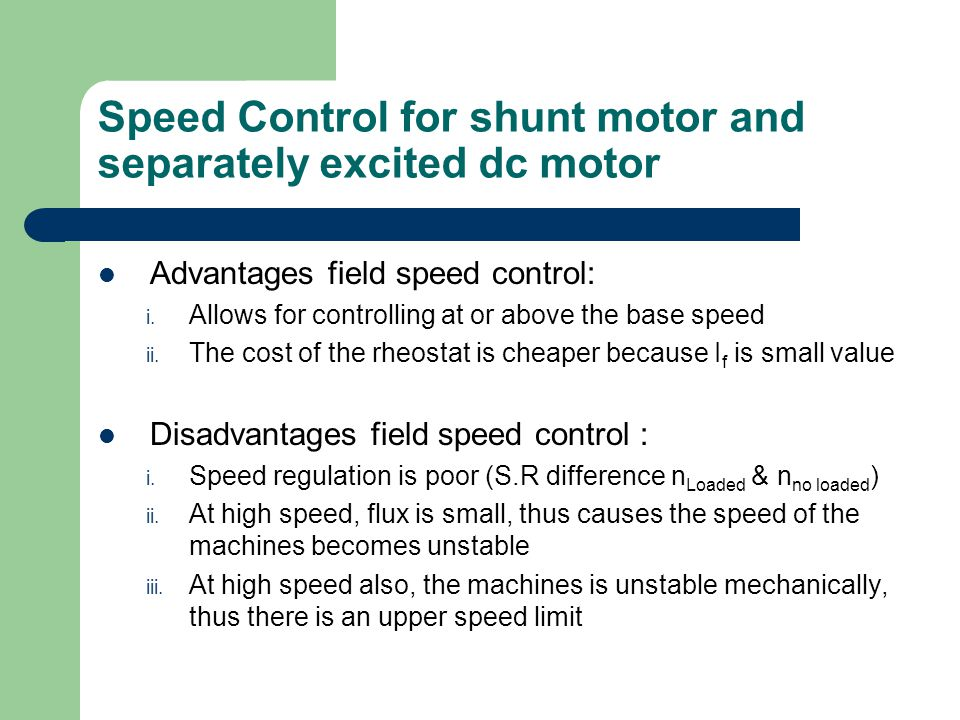 Dc motor 2 bee2123 electrical machines ppt video for Motor speed control methods