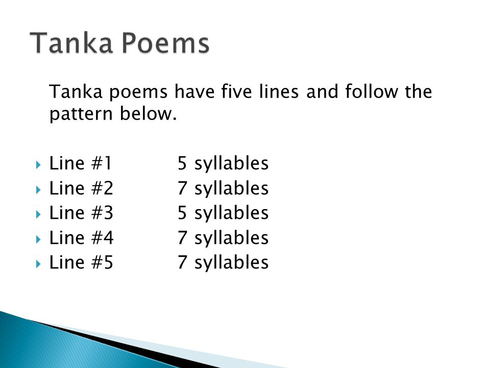 Haiku tanka cinquain and diamante ppt video online for Tanka poem template