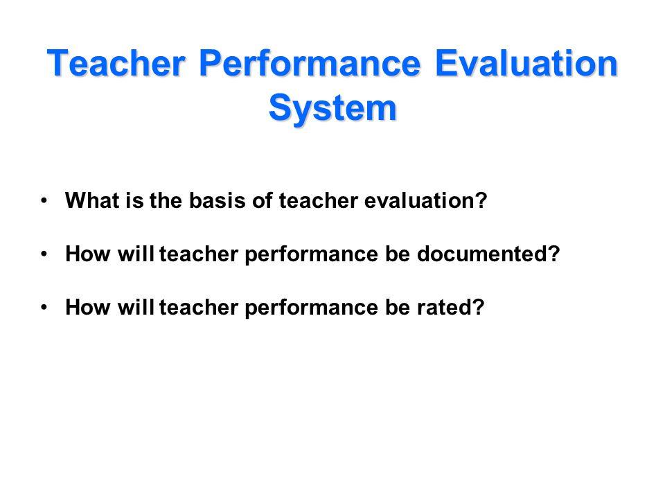 Teacher Performance Evaluation System