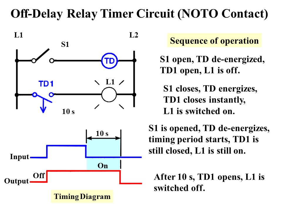 off delay relay wiring diagram off delay timer circuit