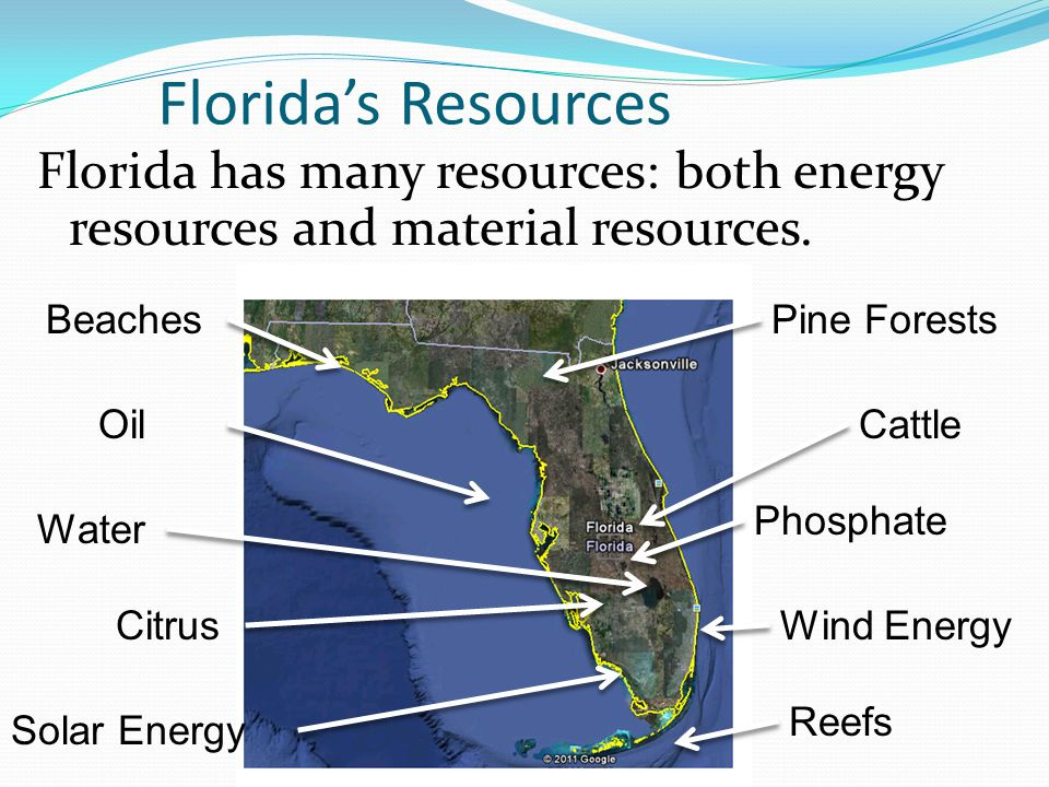 Florida's Resources Florida has many resources: both energy resources and material resources. Beaches.