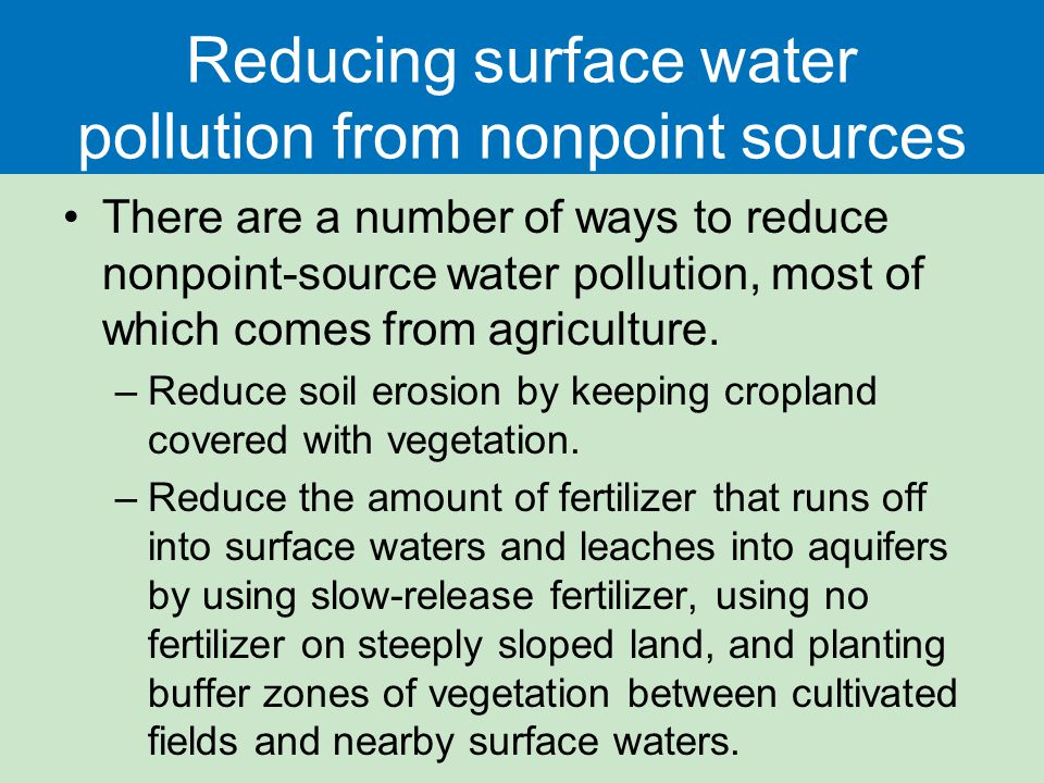 Reducing surface water pollution from nonpoint sources